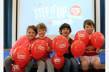 Four pupils ready to take part in the Sport Relief dance