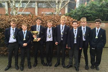 The U13 Water Polo team with their Greater Manchester School Games trophy and medals