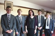 Natalie with some of the pupils who attended the lunchtime talk