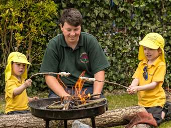 Nursery Class baking bread at Forest School