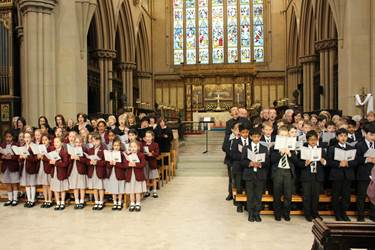 The two Junior School Choirs joined together for a bewitching version of The Lord is My Shepherd