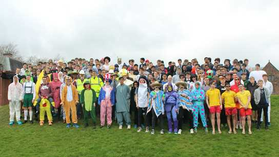 The Sixth Form boys wore colourful costumes for the event