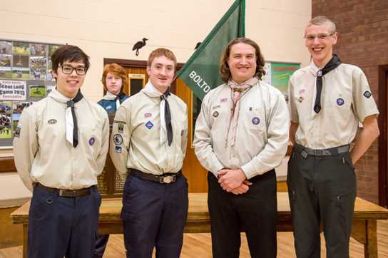 Queen's Scouts Thomas, Nicholas and Paul with Ian Silvester (second from right)