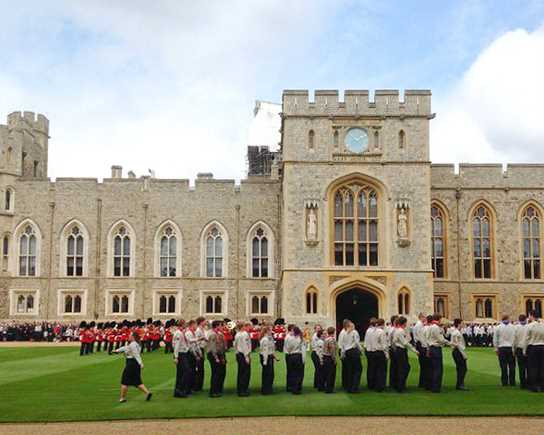 The Royal Parade at Windsor Castle in which the Queen's Scouts  were presented