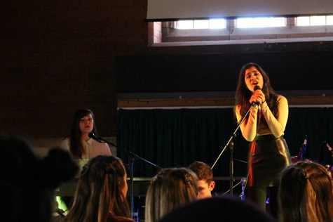 Riya and Jess opened this year's Battle of the Bands with an impressive performance