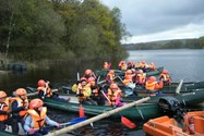 The Year 2 pupils set off across the reservoir