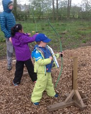 Having a go at archery