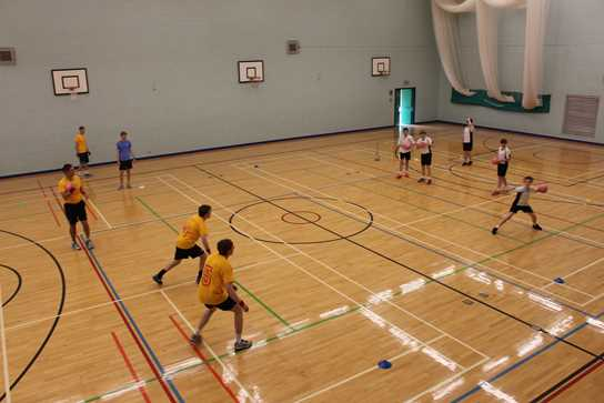 Dodgeball action - staff against pupils