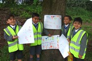 The children made signs to go on display at the park