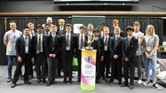 Pupils with the U20 Trophy and the