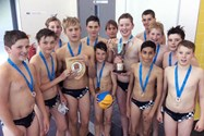 The victorious U13 team with their trophies after winning the ESSA National Final and completing the triple for the School