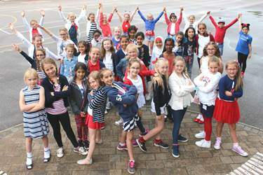 The Junior Girls dressed in the colours of the British flag