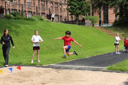 The red team doing the long jump