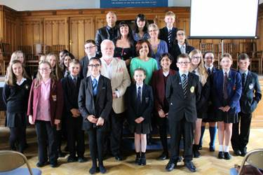 The Bolton Children's Fiction Award 2016 nominated authors with pupils from the schools present at the ceremony