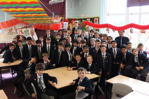 Year 6 boys celebrate in the Confucius Classroom