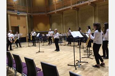 The Joint Saxophone Choir play in the prestigious CBSO Centre