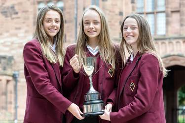 Amy, Mabel and Maddie with the Wallwork Trophy