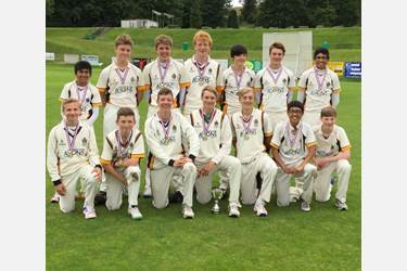 The current U15 team celebrate becoming the North of England champions and progression to the National ESCA Final