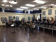 The Jazz Band with additional help from the military rehearsed all day for the concert