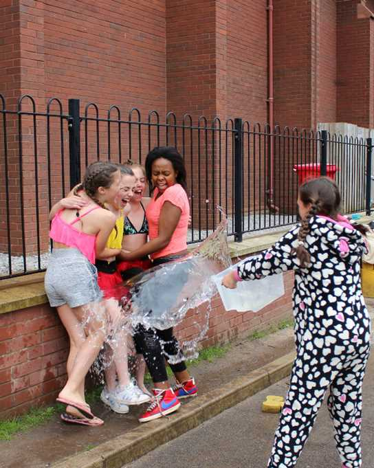 Some brave pupils were soaked to raise funds!
