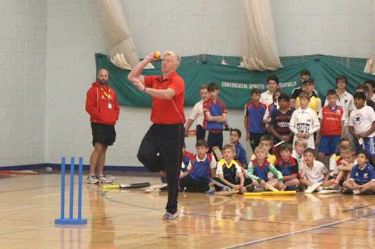 Chapple demonstrating his swing bowling technique