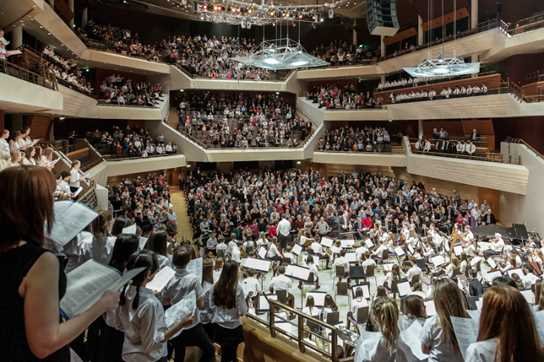 Musicians performing at the Bridgewater Hall in Manchester to celebrate the School's 100 and 500 year anniversaries