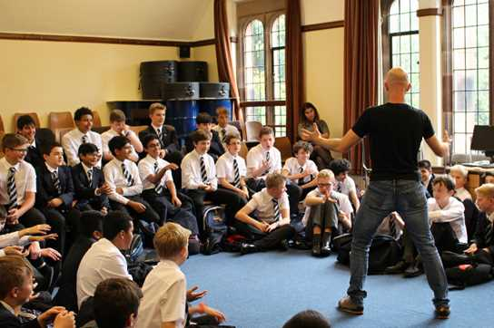 Pupils provide sound effects for the one-man performance