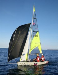 Harvey and Archie sailing their RS Feva
