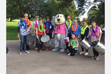 Bolton School's Samba Band provides the entertainment at Bolton Hospice's Bubble Rush