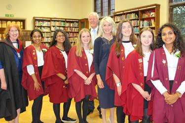 Selina Scott is welcomed to Bolton School by the Chairman of Governors, Headmistress and the Head Girl and her team