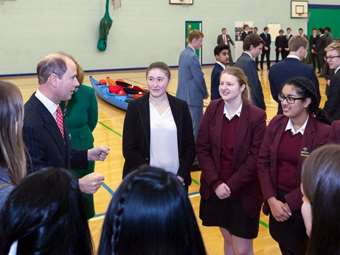 Girls talking to the Prince about their Duke of Edinburgh experiences