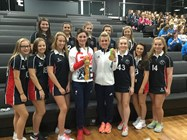 Bolton School girls photographed with Dame Sarah Storey and Alex Danson and their clutch of Gold medals