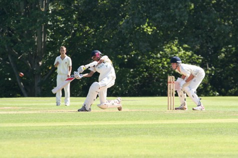 Haseeb batting for Bolton School at the national U15 T20 cricket final at Arundel