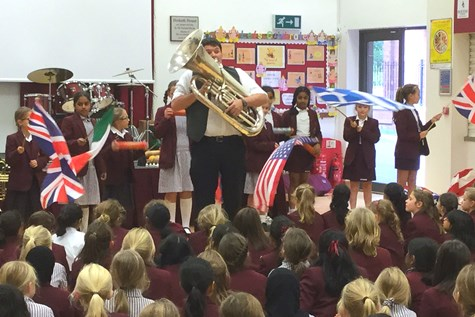 The flag-waving opening to the Travelling by Tuba performance