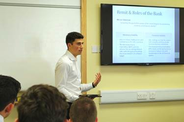 Paul spoke to Business and Economics pupils about the Bank of England