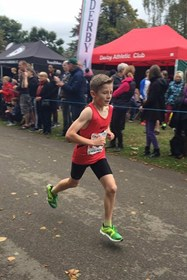 Matthew in action at the National Road Relay Championships