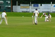 The U13 team batting in the County Cup Final at Leyland