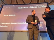 Andy receives his award at the British Swimming Awards night