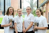 The U15 team with their trophies: Maddie, Eleanor, Jennie and Katherine
