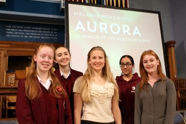Dr Windridge with some of the pupils who attended her talk