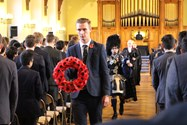 Wreaths were laid on the Memorial Staircase