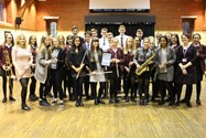 The Senior Concert Band celebrates winning a Platinum Award at the NCBF