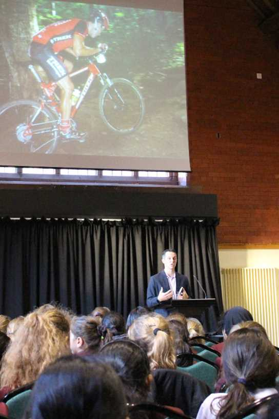 Chris addressed pupils about his mountain biking career