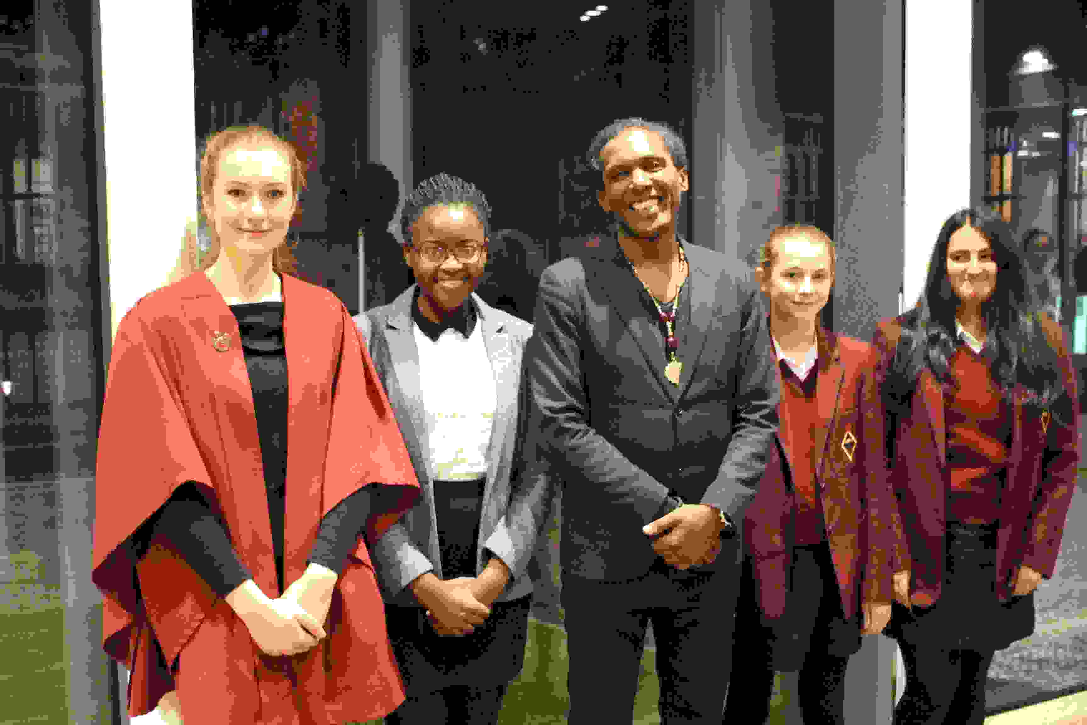 Lemn Sissay with pupils