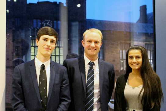 Successful 'Future Stars' applicants Luke and Priya with Cowgill Holloway's Rob Lord