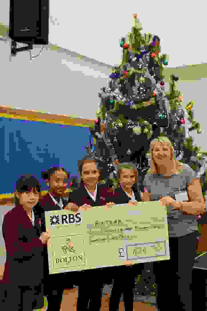 Retrak Christmas Cheque Charity Reps with Gill Lee