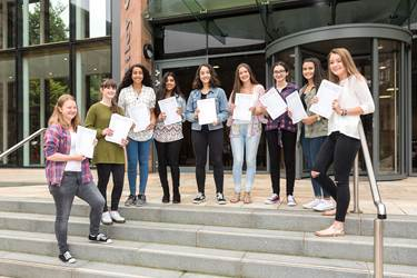 GCSE League Tables - Results Day outside Riley Centre