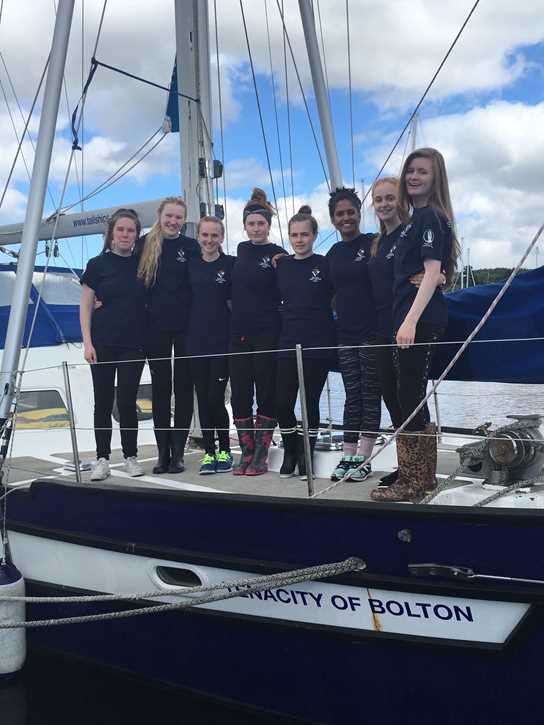 Girls recently completed their Gold Expedition on the ketch built by Bolton School pupils