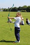 Trying Archery on Outdoor Learning Day