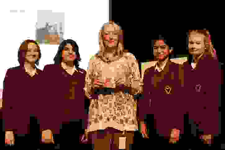 Mandy Coe with pupils